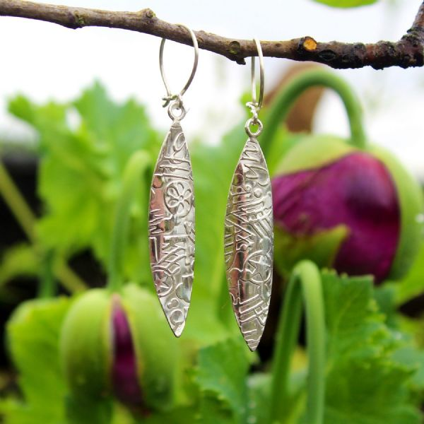 contemporary earrings leaf shaped, sterling silver, Imprint pattern